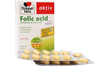 დოპელჰერც აქტივი ფოლის მჟავა +ვიტამინები B6+B12+C+E / DoppelHerz Activ Folic Acid + Vitamins B6+ B12+C+E