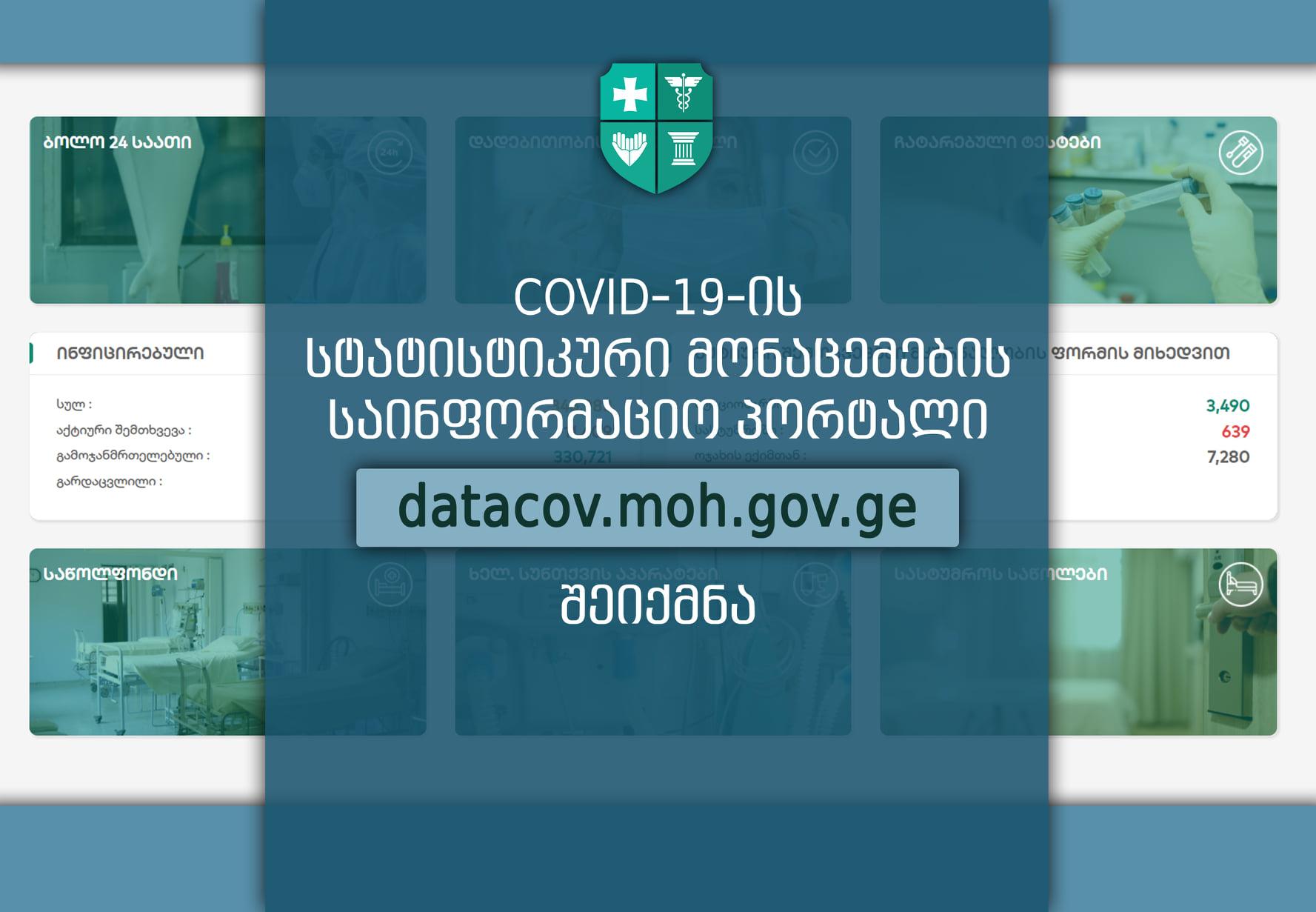 Covid-19-ის სტატისტიკური მონაცემების საინფორმაციო პორტალი