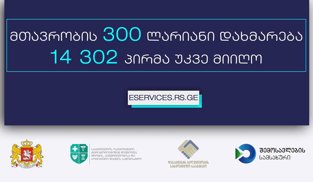 მთავრობის 300 ლარიანი დახმარება 14 302 პირმა უკვე მიიღო